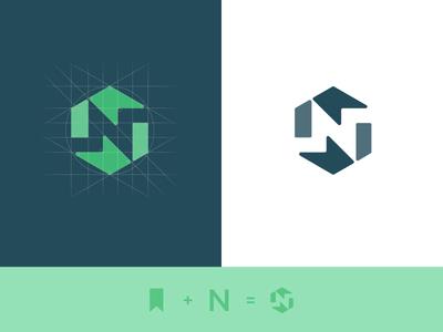 N Symbol abstract symmetrical symmetry logo branding grid hexa hexagram construction monogram n