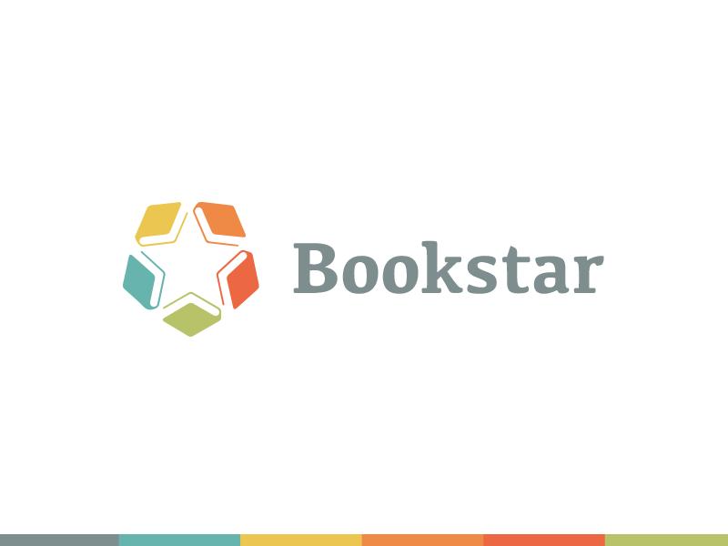 Bookstar popular logo identity favorite best education reading books stars star read book