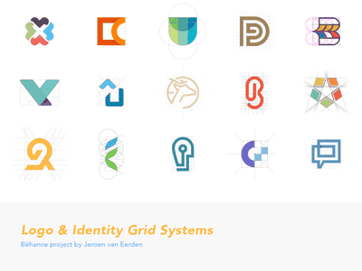 Grid Systems Project monogram mark construction grids raster pattern systems branding identity logo grid