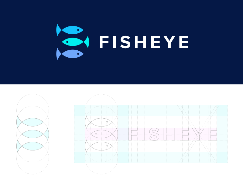 Fisheye Media negativespace grid bubble effect fisheye identity logo corporate productions media eye fish