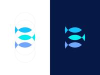 Fisheye Media - Minimal grid bubble effect fisheye identity logo corporate productions media eye fish