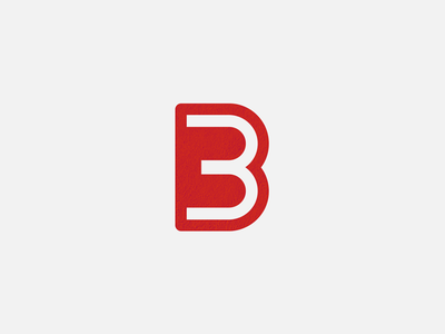 B3 Monogram minimal lettering negativespace symbol number logo trademark letter monogram b3 3 b