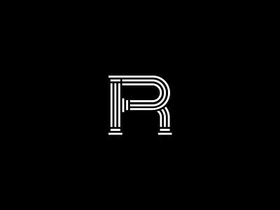R for Rome.  icon logo lettering letter serif type pillars pillar rome r