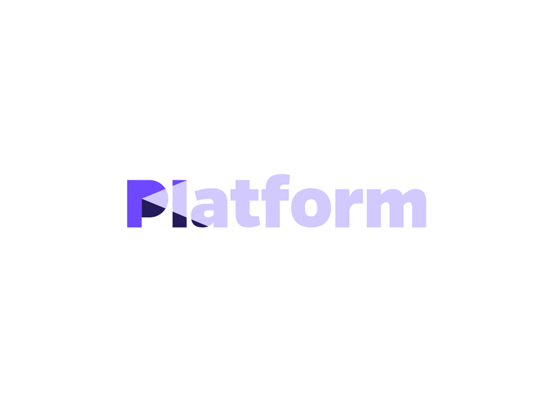 Platform monogram friendly communicate community social branding identity logo word mark 3d shape platform