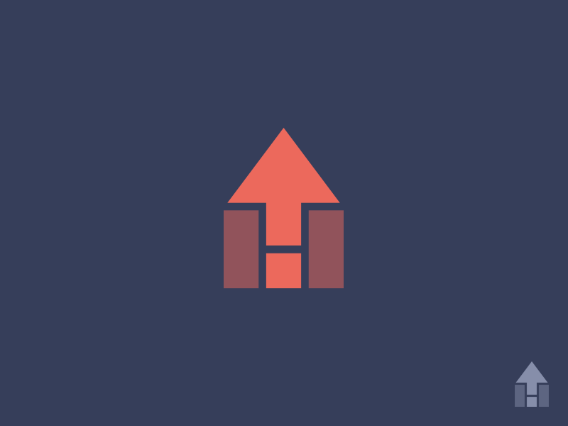 Home Rental  real estate up arrow icon branding identity logo monogram h house rent home