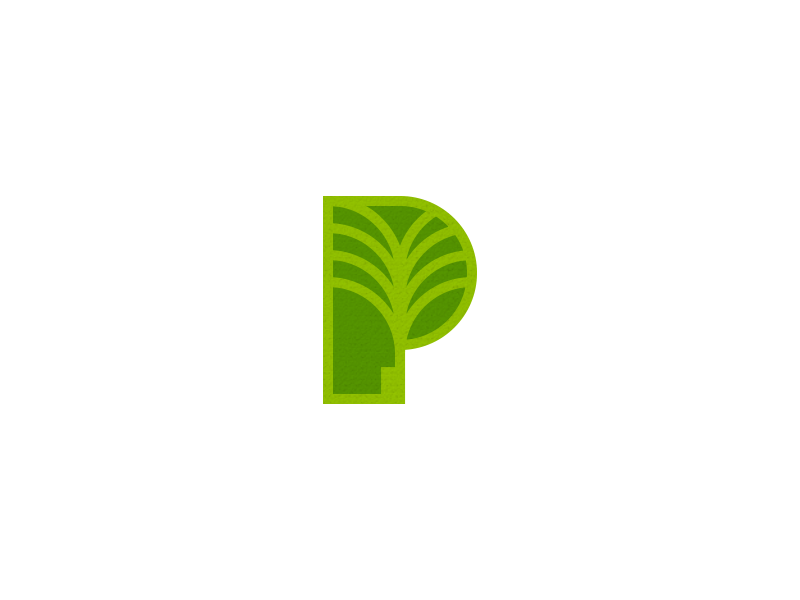 P for Palm branding negative space nature energy green plant symbol identity logo palm p
