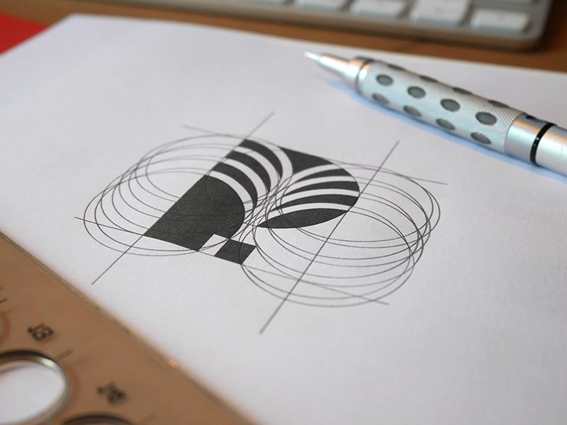 P for Plant Sketch branding negative space nature energy green plant symbol identity logo palm p