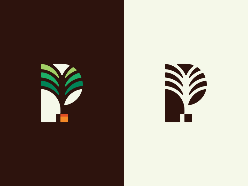 P for Plant pot branding negative space nature energy green plant symbol identity logo palm p