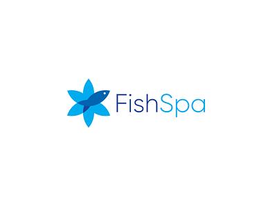 FishSpa feet body relax clinic therapy identity logo fresh flower health spa fish