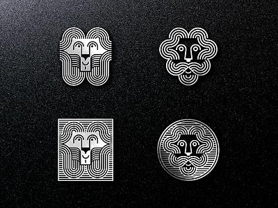 Lion Emblems 🦁 emblem branding beast animal head face silver waves logo lion