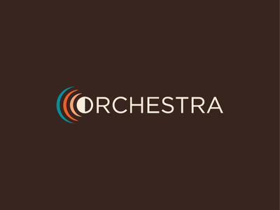 Orchestra wordmark monogram instruments audio sound theater people public audience music orchestra o