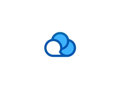 CloudChat network bubble media social icon chat communicate talk speech think cloud