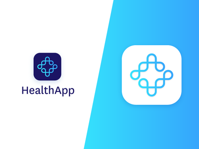 HealthApp body human blue icon mark check cross medic identity logo app health