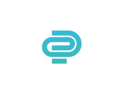 P Monogram transfer archive files connect paperclip monogram icon identity branding logo pro intranet