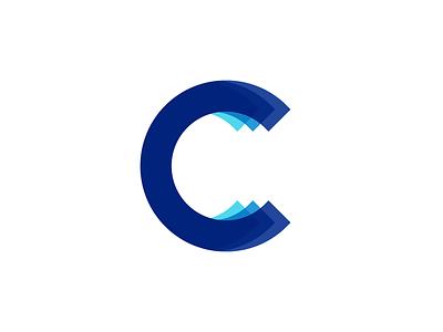 C logo monogram depth visual data paper fold folding layers layer c