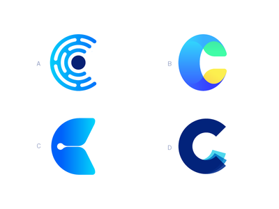 C Marks icon apps letter loop logo monogram analytics data app layers layer c