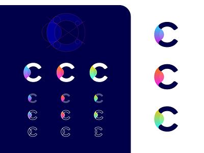 C Logo gradient icon letter loop logo monogram analytics data app layers layer c