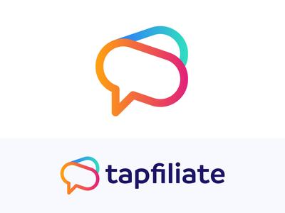 Tapfiliate - Logo Proposal (3) ad speak bubble chat positive media grow speaker bullhorn logo affiliate tap