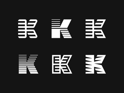 K Monograms type typography abstract identity logo branding lines letter letters monogram k
