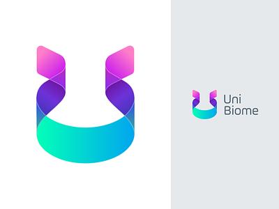 UniBiome - Logo uni identity logo bacteria dna ribbon micro biome microbiome laboratory science lab