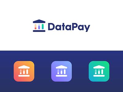 DataPay Logo Design pillar pay money trust analyze charts chart building finance bank data