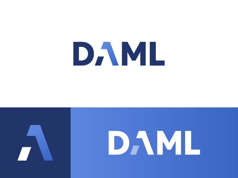 DAML - Logo Design language digital programming lambda code multimap branding data lettering logo codepoint