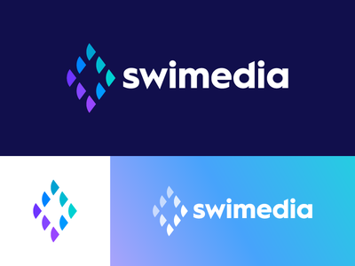 Swimedia - Logo Design swimedia software identity sea water media scales logo negative space school fishes fish