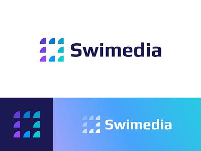 Swimedia - Logo Design fish fishes school negative space logo scales ocean water sea identity software media