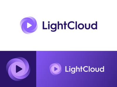 LightCloud - Option 2 identity branding icon logo music software stream play host cloud light