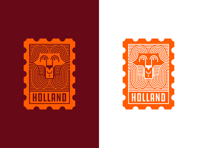 Holland Stamp beast animal strong proud history send post mail lion stamp dutch holland