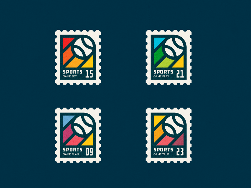 Sport stamps dribbble