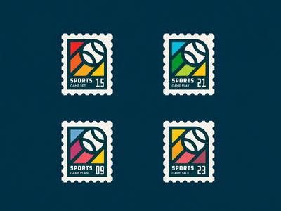 Sport Stamps player activity tennis baseball active sports play ball vintage sport stamp