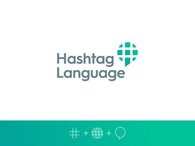 Hashtag Language educate learn social community negative space chat globe identity logo app language hashtag
