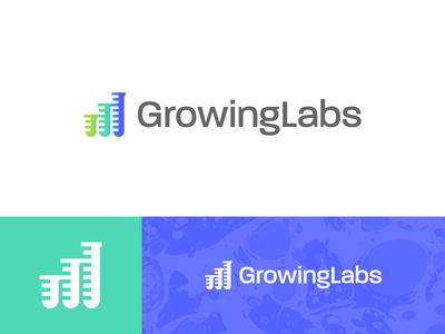 GrowingLabs - Logo Design data tubes laboratories analysis e-commerce marijuana cannabis labs lab growing grow