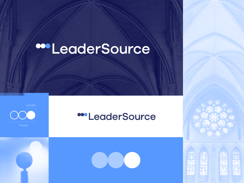 LeaderSource - Logo Design church dots leaders lead forward movement followers faith leader
