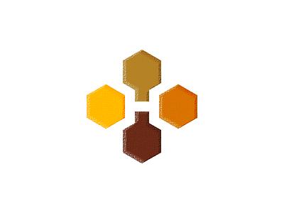 H for Honey - Logo Design hive branding identity logo bottle flask symbol bee hexagon nectar honey h