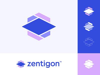 Zentigon - Logo Proposal logo create website webdesign arrow navigate platform calculate measurement zentigon gon zen