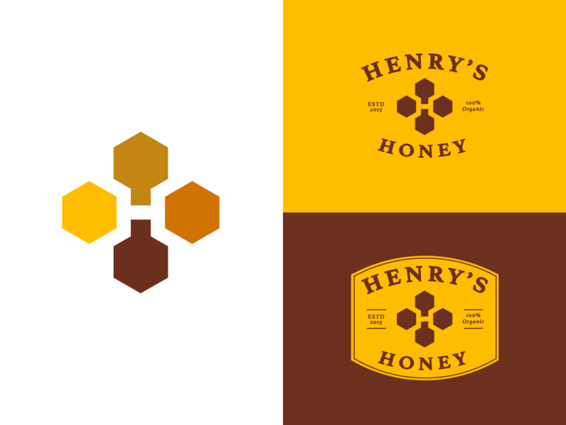 Henry's Honey - Logo Design honeycomb honeybee hexagon hive farm jeroen van eerden negative space h label organic food honey bee lettering symbol logo identity branding monogram henry