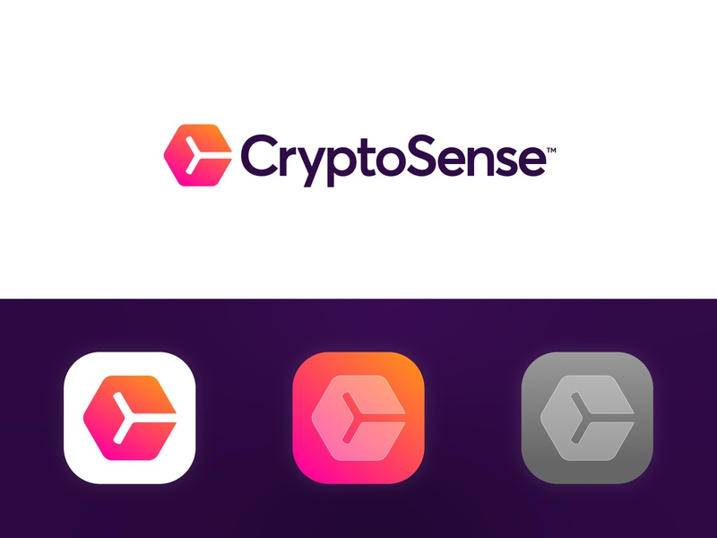 CryptoSense - Logo Design hexagon cube application app channel news vibe mood sense gradient branding identity logo monogram c market stock cryptocurrency currency crypto