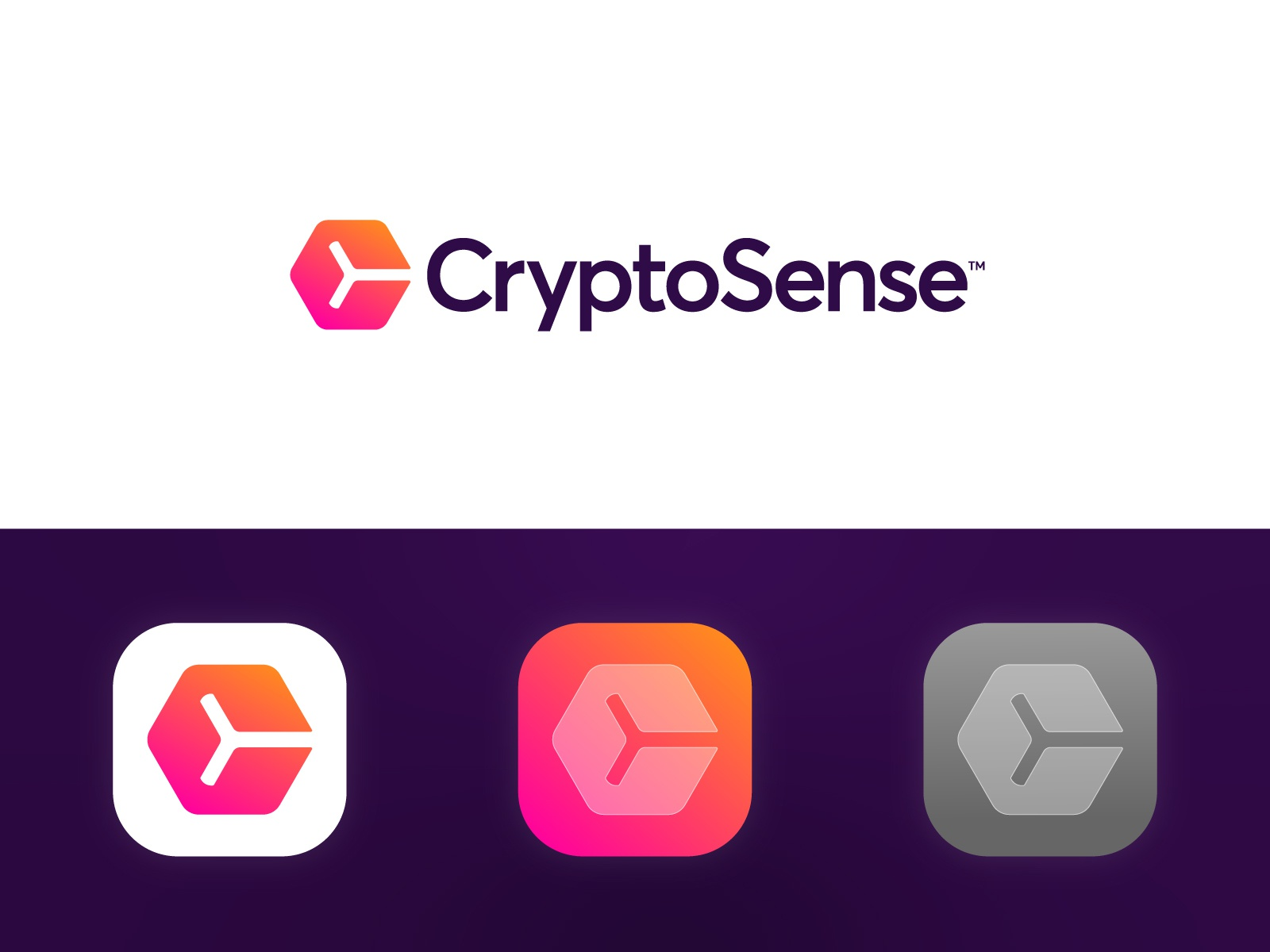 CryptoSense - Logo Design hexagon cube application app channel news vibe mood sense gradient branding identity logo monogram c market stock cryptocurrency currency crypto