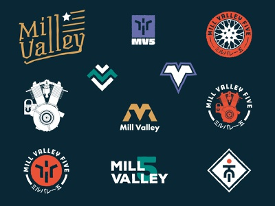 Mill Valley - Identity Exploration monogram harley engine symbol patch logo design identity exploration branding logo bikers biker bike motorcycle motorbike motor usa california valley mill
