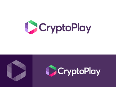 CryptoPlay - Logo Design challenge trend negative space play button logo rebranding redesign identity cryptocurrency cryptocurrency logo crypto logo crypto exchange online casino gamble gaming video play game crypto