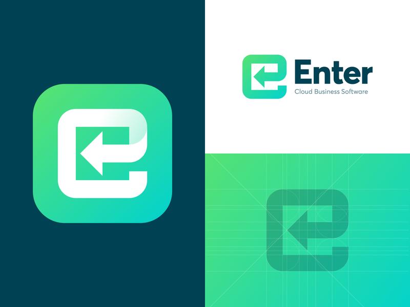 Enter - Logo Design monogram e arrow computer keyboard logo grid grid logo concept logo design software business cloud b2b application app service branding identity logo gradient enter
