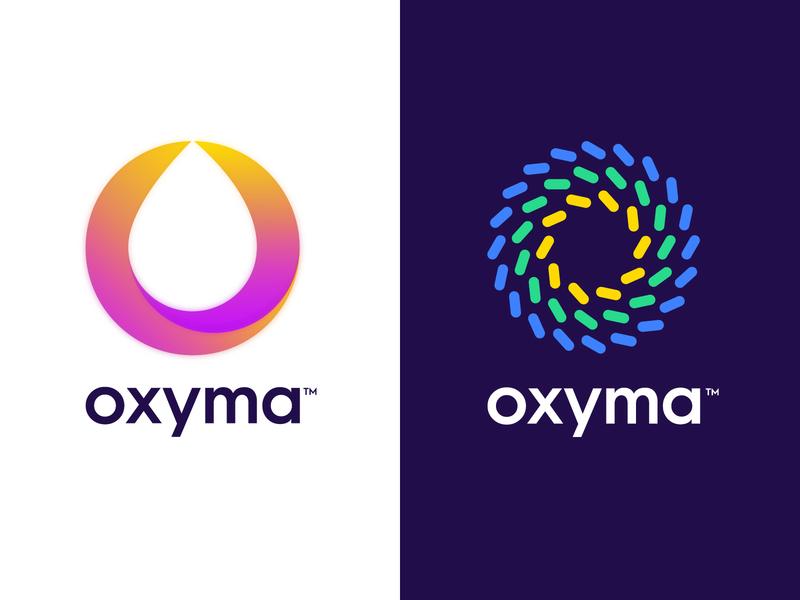Oxyma - Visual identity logo design molecules liquid drop morocco station gas fuel oxyma abstract symbol lettering letter mark monogram branding identity logo