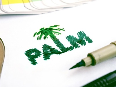 Palm - Wordmark 🌴 palm trees branding identity logo handlettering pen colors pantone beach sketch paper brush green letters creative letters lettering logo design wordmark tree palm