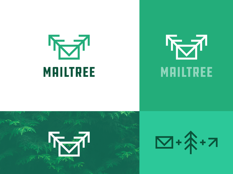 MailTree green ann studio identity branding creative mailtree messages send up no waste clean environment forward nature arrow message envelope logo tree green