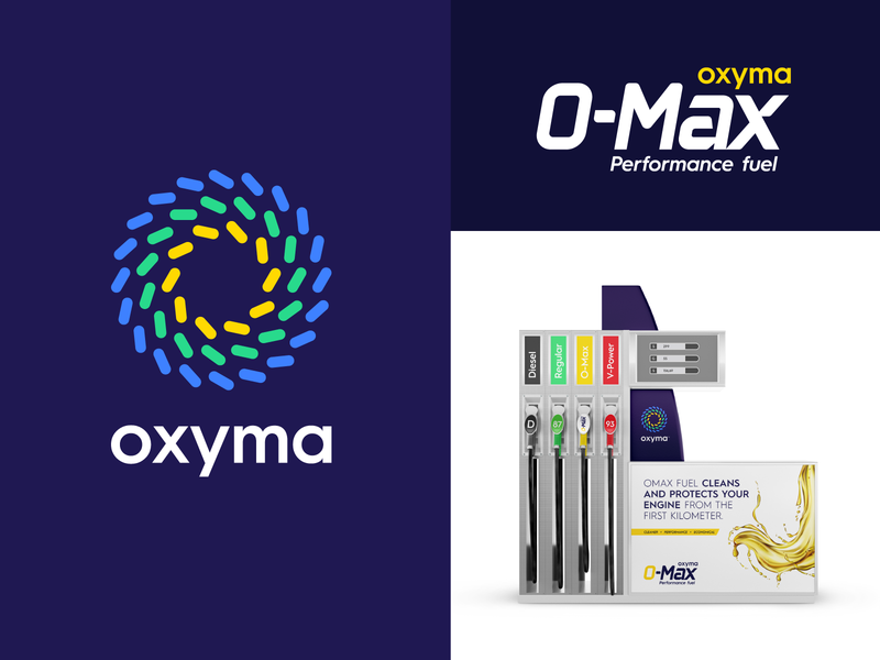Oxyma Branding - Project Update dispenser car performance max omax africa moroccan morocco oil fuel gas station logo design subbrand icon abstract symbol branding monogram logo identity