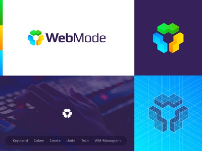 WebMode - Logo Design community platform creative logo creative wm monogram monogram tech code keyboard cubes logo cube game logo gaming game web logo logo design logo webmode mode web