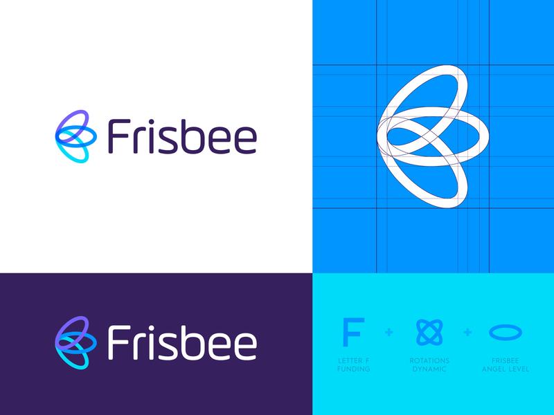 Frisbee - Logo Design venture finance butterfly monogram f identity design logo identity logo grid branding angel investor angel level funding fund invest rotation logo design logo angel bee frisbee