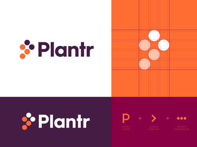Plantr - Logo Design 3 identity design brand identity arrow forward focus cloud communicate grow management career positive letter monogram monogram design monogram logo monogram p monogram logo design logo plantr plant